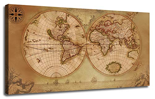 (Canvas World Map Wall Art Vintage Nautical Picture Beige Painting Prints, One Panel Large Size Framed Old Artwork Posters Ready to Hang for Living Room Home Office Bedroom Study Room Mural Decor)