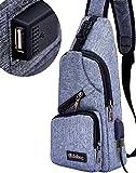 Inclined Shoulder Bag Backpack Single Shoulder Bag USB Charging Interface 2018 the Latest Canvas Unisex Gray