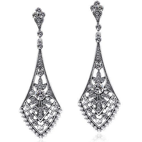 Coucoland 1920s Flapper Earrings Roaring 20s Great Gatsby Crystal Rhinestone Earrings Vintage 20s Flapper Gatsby Costume Accessories (Style 3-Silver -
