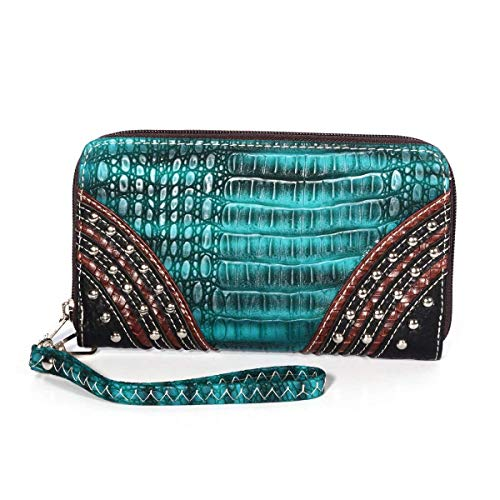 P&G COLLECTION Teal, Cognac and Black Vegan-Leather Southwest Studded Zipper Wallet Clutch with Removable Wristlet Strap (7.5