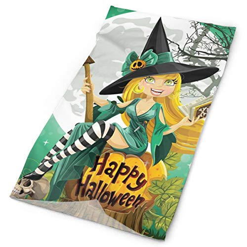 Headwear Headband Head Scarf Wrap Sweatband,Cheerful Smiling Girl In Halloween Costume On A Pumpkin Giant Moon Woodland,Sport Headscarves For Men Women