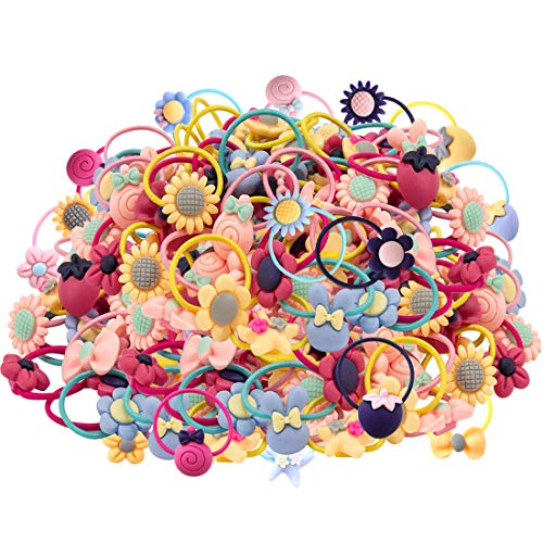 WillingTee 100pcs (50 Pairs) Mix Colors Girl's Elastic Hair Ties Soft Rubber Bands Hair Bands Holders Pigtails Hair Accessories for Girls Infants Toddlers Kids Teens and Children ()