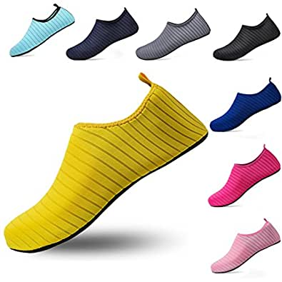 ceyue Unisex Water Shoes Barefoot Aqua Sock Shoes for Beach Pool Swim Surf Yoga Exercise Men Women Yellow 35/36