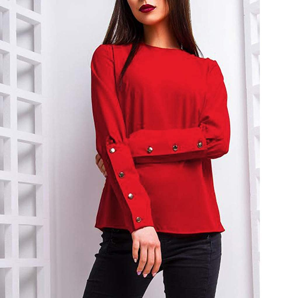 Sunhusing Womens Solid Color Casual Round Neck Pullover Top Multi-Button Buckle Long Sleeve Shirt at Amazon Womens Clothing store: