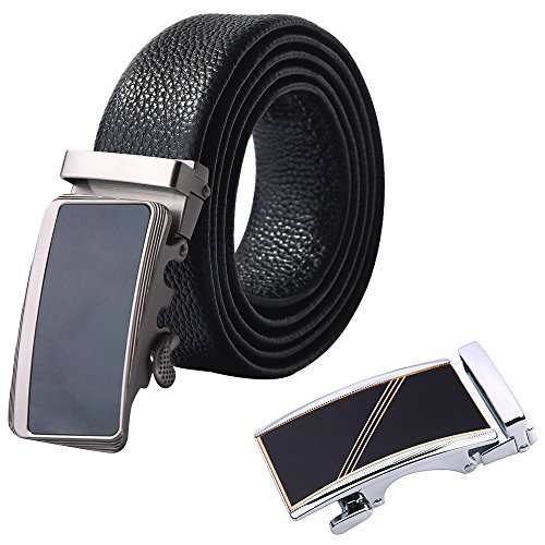 Men's Belt IYAFFA Genuine Leather Black Ratchet Belt for Men 2-Pack Automatic (Leather Slip Belt)