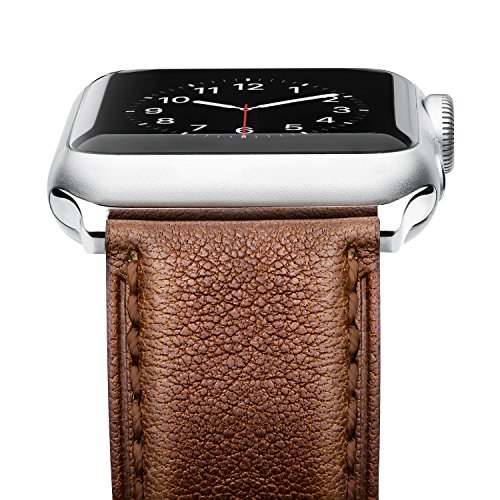 [[Upgraded] Apple Watch Band, Benuo [Vintage Series] Premium Genuine Leather Strap, Classic Bracelet Replacement with Secure Buckle, Adapter for iWatch Series 2/Series 1/Edition/Sport 42mm (Dark Brown)] (Dark Brown Leather Buckle)