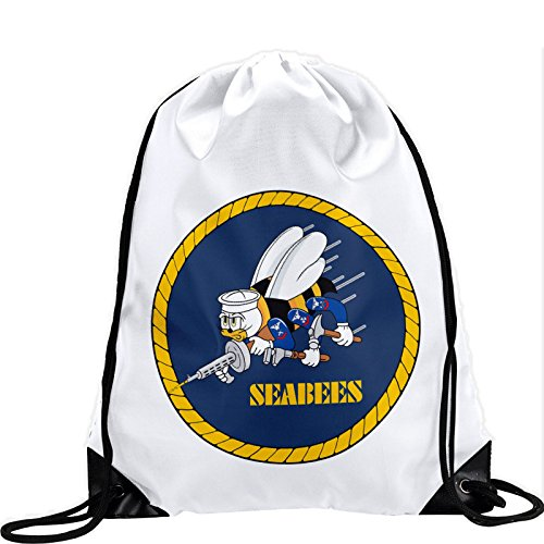 Cheap Express It Best Large Drawstring Bag with US Naval Construction Force (CBs, SeaBees) – Long lasting vibrant image