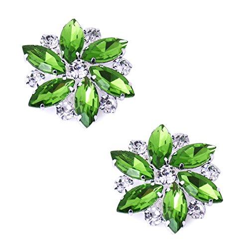 ElegantPark AJ Shoes Dress Hat Accessories Fashion Rhinestones Crystal Shoe Clips 2 Pcs Green
