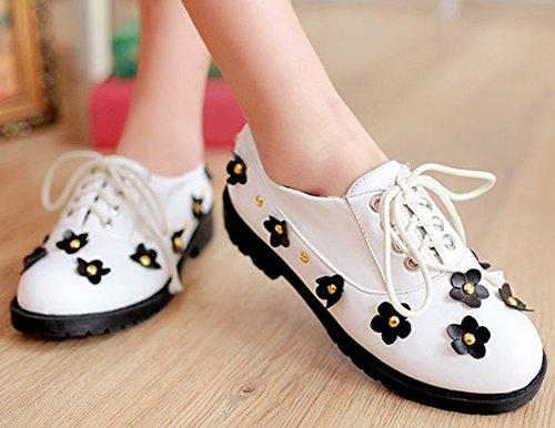 IDIFU Womens Sweet Floral Low Top Lace Up Oxfords Round Toe Low Chunky Heel Sneakers White DbjQEWfu
