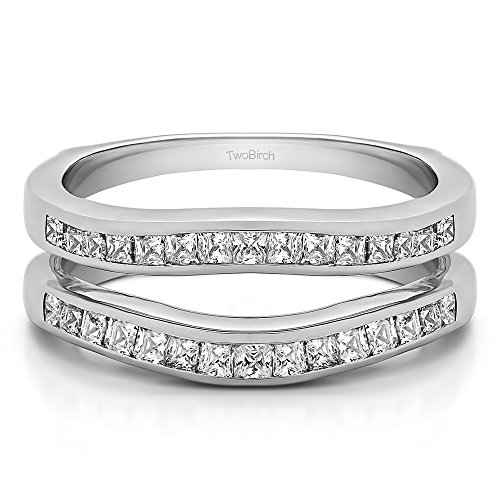 0.9 ct. Cubic Zirconia Delicate Contour Channel Wedding Ring in Sterling Silver (0.9 ct. twt.)