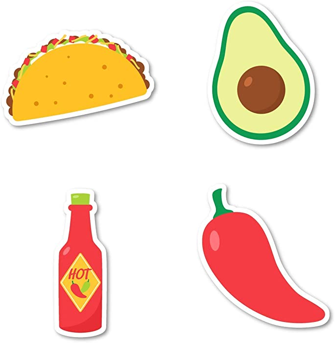 Taco Tuesday Sticker Pack Tacos Stickers - 4 Pack - Sticker Vinyl Decal - Laptop, Phone, Tablet Vinyl Decal Sticker (4 Pack) S183149