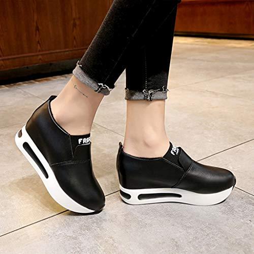 on Gruesa Luckygirls De Sneakers Zapatos Zapatillas Negro Suela Slip Mujer Cuñas Calzado Deportivo YrYcgq8