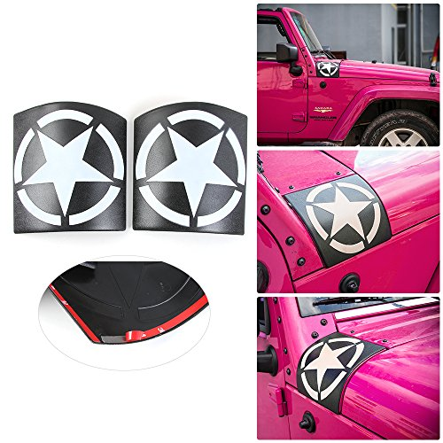 New Style Five Star Cowl Body Armor for Jeep Wrangler JK JKU Unlimited Rubicon Sahara X Off Road Sport Exterior Accessories Parts 2007 2008 2009 2010 2011 2012 2013 2014 2015 2016 2017 (white)