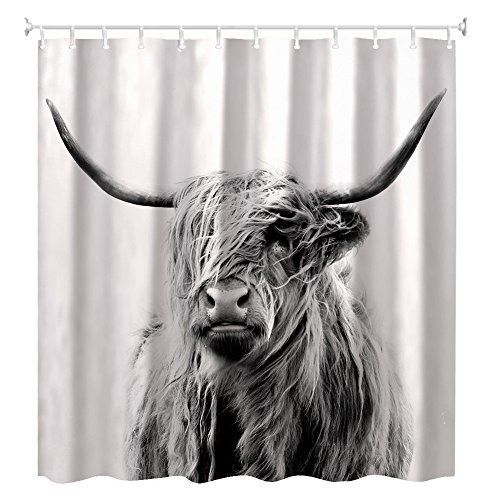 shower curtain,portrait of a highland cow 60 x 72inch for $<!--$21.99-->