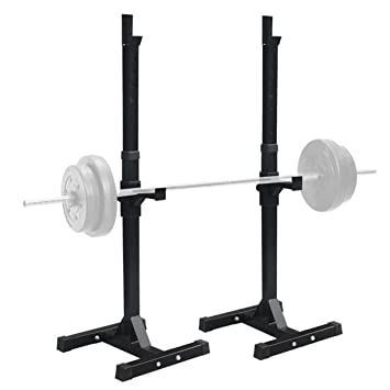 F2c Pair Of Adjule Rack Sy Steel Squat Barbell Free Bench Press Stands Gym Home