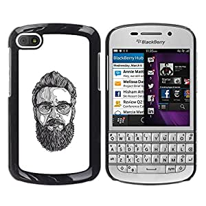 MobileHut / BlackBerry Q10 / Glasses Art Painting Beard Hipster / Delgado Negro Plástico caso cubierta Shell Armor Funda Case Cover