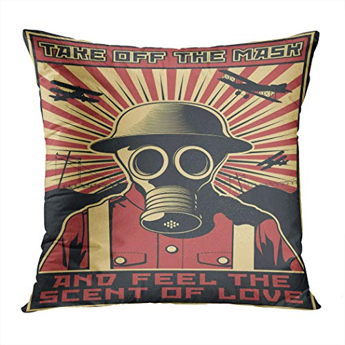 Meofo Throw Pillow Cover Vector Gas Mask World War Decorative Polyester Soft Pillowcase for Sofa Office Cushion Bedroom Car Square 20 x 20 Inch (Vector Gas Mask)