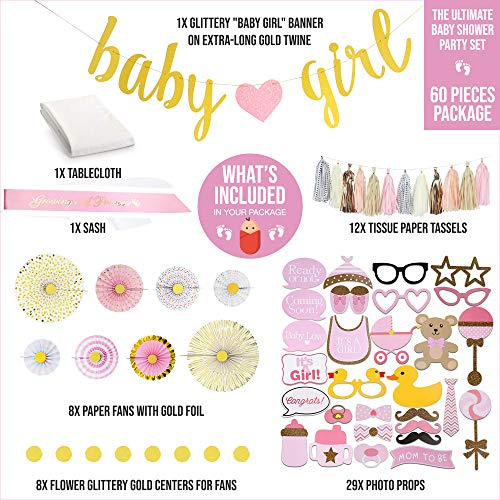 Superb Productions Complete Baby Shower Party Decorations For Girl- Baby Shower Party Supplies-Includes 1 Glittery pink and gold Baby Girl Banner, 8 Paper Fans with Gold Foil, 12 Tissue Paper Tassel