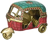 Aone India Auto Rickshaw Tuk-tuk Brass Showpiece Handcarved Sculpture Height 5 Inch Length 3.5 Inch for Home and Office + Cash envelope (Pack of 10)