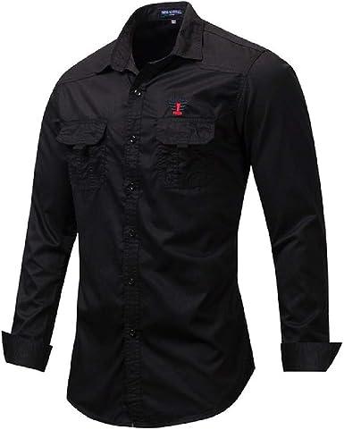 Camisa de Carga para Hombre Camisa Informal de Manga Larga con Bordado Camisas sólidas Camisa Militar clásica para Hombre Azul Caqui: Amazon.es: Ropa y accesorios
