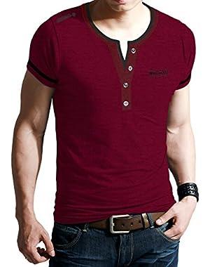 Mens Stretchy Premium Slim Fit Sport Henley/Vneck Embossed Shirt