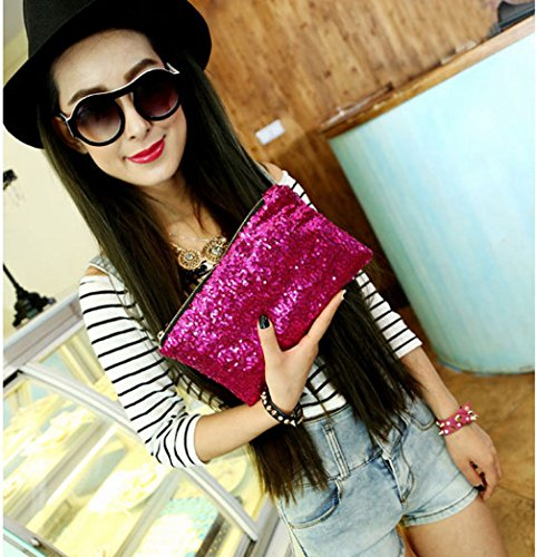 Evening Sequins Glitter Bling Clutch Handbag Red Haresle Party Rose Wallet Bag AEwHnqffX