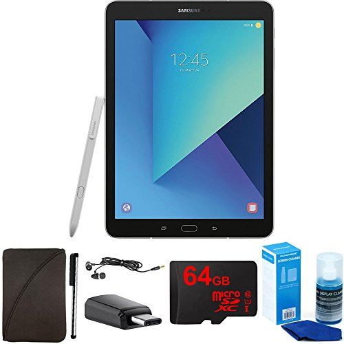 Samsung Galaxy Tab S3 9.7 Inch Tablet with S Pen - Silver - 64GB Accessory Bundle includes 64GB MicroSD High-Speed Memory Card, Protective Sleeve, Stylus, USB-C Adapter, Screen Cleaner and Earbuds