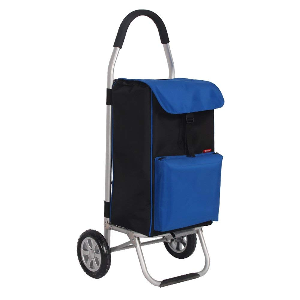 Zehaer Portable Trolley, Shopping cart Aluminum Alloy Portable Shopping cart to Buy Food Folding Luggage Small cart, 56L (Size : Blue)