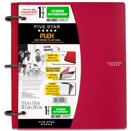 Five Star Flex NoteBinder, 1.5-Inch Capacity, 11.5 x 11.25 I