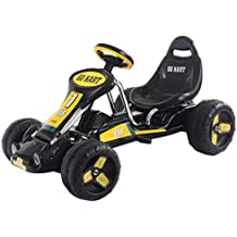 Costzon Go Kart, 4 Wheel Ride on Car, Pedal Powered Ride On Toys for Boys & Girls with Adjustable Seat, Pedal Cart for Kids