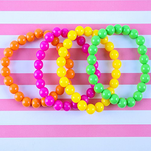 Coobey 80s Neon Bracelet Necklace Bow Headband Fishnet Gloves Lighting Earring by Coobey (Image #4)