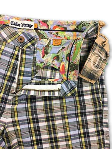 W32 Cotton Madras Blue Vintage Shorts Size Tailor green white In 7R8Bxwqz