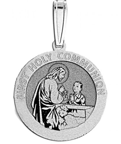 Sterling Silver First Holy Communion Religious Medal (for a Boy) 3/4 Inch Sterling ()
