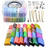 [1.4 Oz/Piece] 32 Blocks Polymer Clay Colorful DIY Soft Craft Oven Bake Modelling Clay Kit, with Storage Box, Tools and Accessories