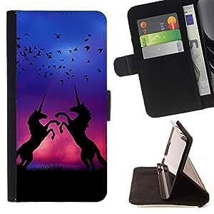 For Apple (5.5 inches!!!) iPhone 6+ Plus / 6S+ Plus Case , Púrpura Pájaros azules Noche Negro- la tarjeta de Crédito Slots PU Funda de cuero Monedero caso cubierta de piel