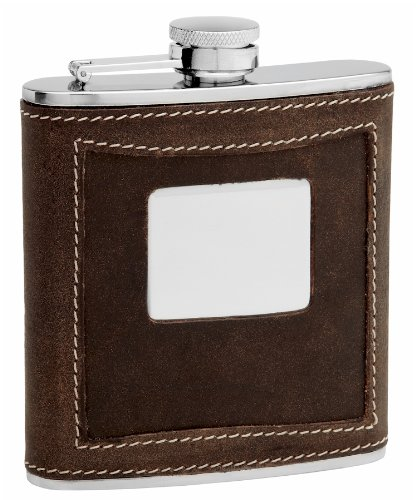 Two-Tone Brown Distressed Leather Hip Flask, Free Personalized Engraving