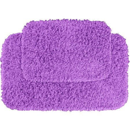 Damask Sisal Rug (Garland Fiesta 2pc Shag Bath Rug Set, Purple)