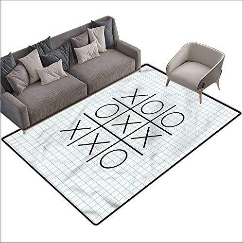 """Kitchen Doormat Xo,Tic Tac Toe Squares School 36""""x 60"""",Bedroom Rugs"""