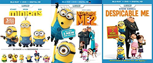 Despicable Me 1 & Despicable Me 2 & Minions Blu Ray Movie Collection with mini movies Animated Set