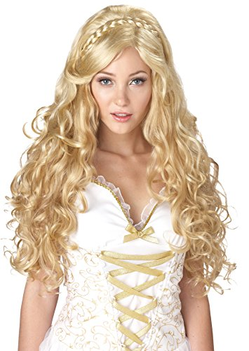 [UHC Grecian Greek Roman Mythic Goddess Long Curly Blonde Wig Costume Accessory] (Cheap Roman Costumes)