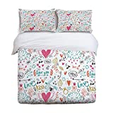 YEHO Art Gallery Twin Size Soft Children Bed Sets Soft Duvet Cover Set for Girls Boys,Hand Painting Heart PatternValentine's Day Bedding Sets,Include 1 Comforter Cover with 2 Pillow Cases