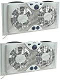 Holmes Twin Window Fan with Comfort Control Thermostat (Pack of 2)