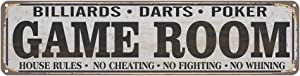 Game Room House Rules Metal Street Sign, Billiards, Poker, Darts, Gaming, Man Cave, Den, Wall Decor 16x4 Inches Vintage Tin Sign