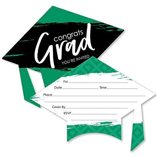 Green Grad - Best is Yet to Come - Shaped Fill-in Invitations - Green Graduation Party Invitation Cards with Envelopes - Set of 12 - Invitations Perfect Picture Party