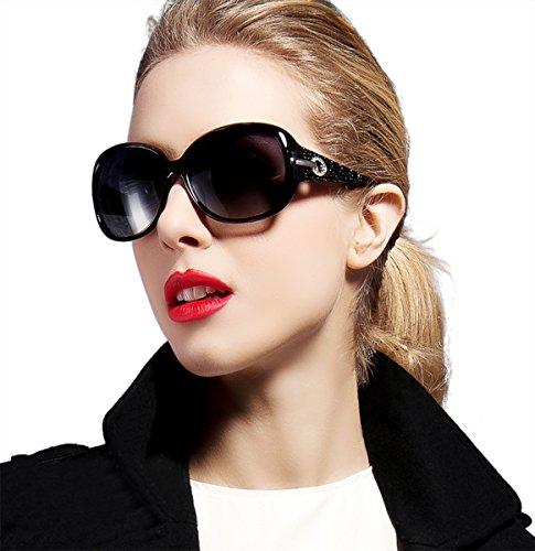 1888f53282 ATTCL Women Fashion Polarized UV400 Protection Sunglasses 6214 Black   Amazon.co.uk  Clothing