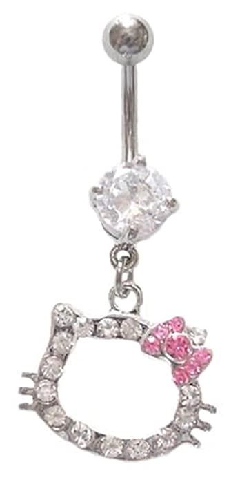 Hello Kitty Pink Bow Cz Head Dangle Belly Navel Ring Piercing Bar Body Jewelry
