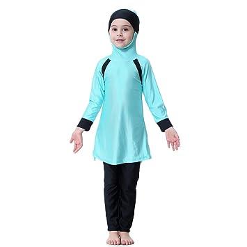 8aa9f859f141 Hougood Girls Muslim Swimwear Swimming Costumes Kids Modest Islamic Hijab  Swimsuits Burkini Sun Protection Full Length