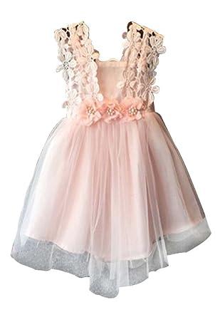 7e093c039 Amazon.com: Baby Girls Sleeveless Lace Wedding Vintage Birthday Party  Princess Flower Backless Dress: Clothing