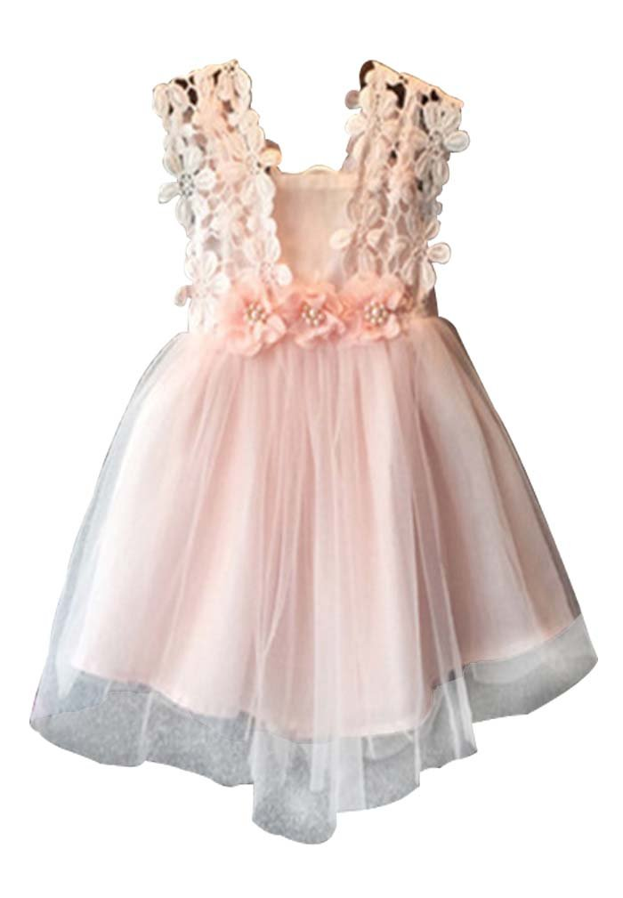 Baby Girls Sleeveless Lace Wedding Vintage Birthday Party Princess Flower Dress 3T(Tag 120) Pink