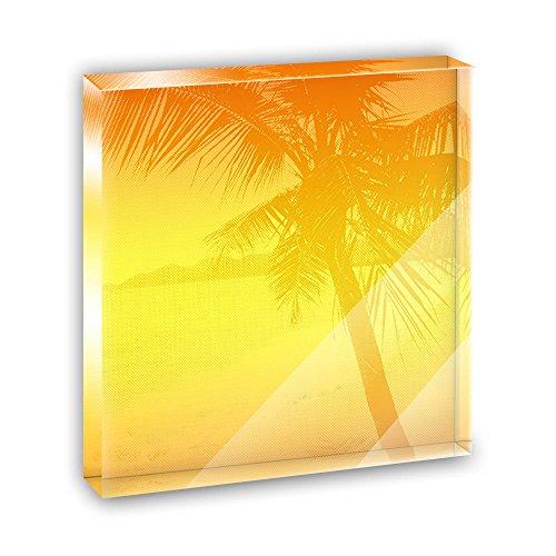 Palm Tree Silhouette Orange Gradient Acrylic Office Mini Desk Plaque Ornament Paperweight